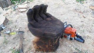 getlinkyoutube.com-Стул из бревна в виде руки. Резьба по дереву бензопилой.садово парковая мебель массив