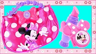 getlinkyoutube.com-Minnie Mouse Twinkle Bows Electronic Bag with Play Doh Cell Phone Sunglasses & Play Purse
