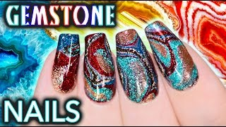 getlinkyoutube.com-DIY Gemstone Nail Art - NO WATER WATERMARBLE!