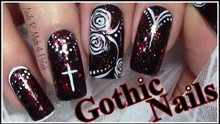 getlinkyoutube.com-Gothic Nails / Halloween Nageldesign / Mix & Match Nail Art Design Tutorial