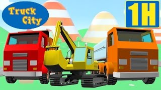 getlinkyoutube.com-Escavadora, Camião de Despejo, Guindaste, Trem : Cidade de Camiões Compilação Construções