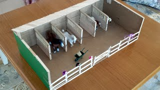 getlinkyoutube.com-Making Ella's Schleich Barn / Stable and fences.