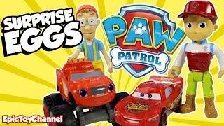 getlinkyoutube.com-SURPRISE EGGS Paw Patrol Nickelodeon Parody + Blaze, Disney Cars Toy & NEW Paw Patrol Surprise Toys