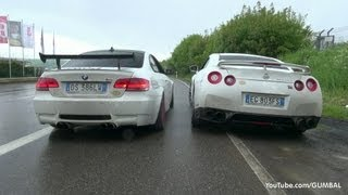 getlinkyoutube.com-VERY LOUD Meisterschaft Nissan R35 GT-R vs BMW E92 M3 w/ F1 SuperSprint Exhaust!