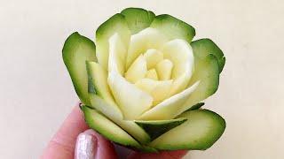 getlinkyoutube.com-Simple Rose Zucchini Flower - Beginners Lesson 74 By Mutita Art Of Fruit Vegetable Carving Tutorial