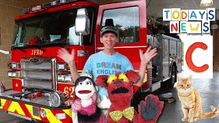 getlinkyoutube.com-Today's News Show With  Matt | Fire Truck & Letter C | Learn English Kids