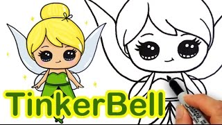 getlinkyoutube.com-How to Draw Disney Tinker Bell Fairy step by step Cute