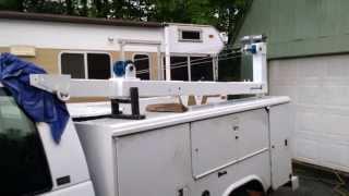 getlinkyoutube.com-DIY Homemade Truck Crane on Service / mechanics truck, built like an old Auto Cable Crane