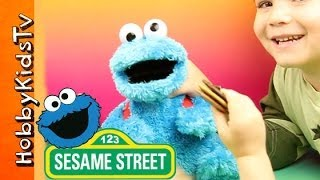 getlinkyoutube.com-Cookie Monster Count and Crunch! Play and Toy Review, Sesame Street Hasbro HobbyKidsTV