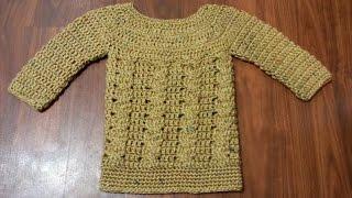 getlinkyoutube.com-CROCHET How To #Crochet Baby Cable Sweater Dress Jumper #TUTORIAL #173