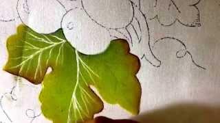 getlinkyoutube.com-Pintura en tela hojas y uvas verdes con cony