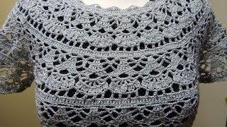 getlinkyoutube.com-Blusa Gris Crochet Fácil parte 1 de 2