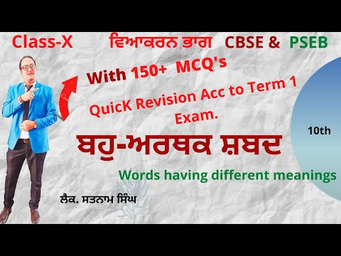 Quick Revision of ਬਹੁਅਰਥਕ ਸ਼ਬਦ Words Having Different Meaning   Grammar