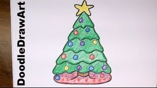 getlinkyoutube.com-Drawing: How To Draw a Cute Cartoon Christmas Tree - Easy step by step drawing lesson