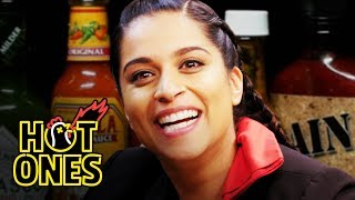 Lilly Singh Fears For Her Life While Eating Spicy Wings   Hot Ones