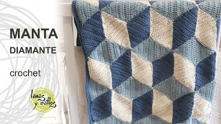 getlinkyoutube.com-Tutorial Manta Diamond Crochet o Ganchillo