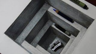 getlinkyoutube.com-How to Draw a Realistic Concrete Hole - 3D Drawing