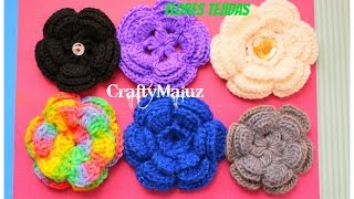 getlinkyoutube.com-TUTORIAL:♥ CROCHET: FLOR TEJIDA (PASO A PASO) CRAFTYMALUZ