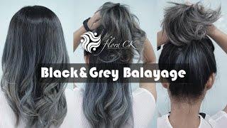 สีผม Black&Grey Balayage