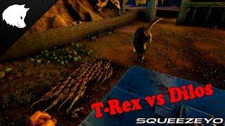 getlinkyoutube.com-ARK Survival Evolved Dino Battle, Dilo Army vs T-Rex (60+ Dilos)