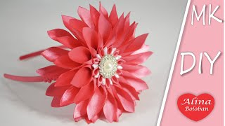 getlinkyoutube.com-Астра Канзаши . МК Канзаши / Aster flower kanzashi