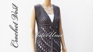Open front vest jacket – lace summer top crochet pattern