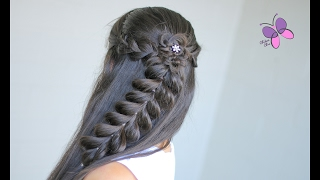 getlinkyoutube.com-Peinado Lindo con Trenza de Ligas - Half-up Pull Through Braid | Peinado con Trenzas | Flor Trenzada