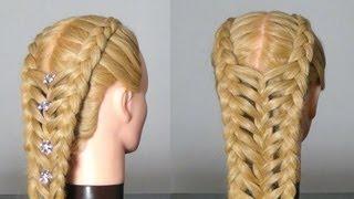 getlinkyoutube.com-Прическа для длинных волос с косами. Braided hairstyle for long hair.