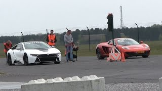 getlinkyoutube.com-DRAGRACE | BMW i8 vs McLaren MP4-12C vs Ferrari Speciale Aperta vs Nissan GTR and more!