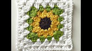 getlinkyoutube.com-Granny Square Girasol a Crochet
