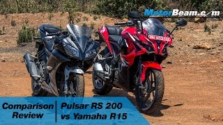 getlinkyoutube.com-Pulsar RS 200 vs Yamaha R15 - Comparison Review   MotorBeam