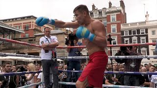 getlinkyoutube.com-Golovkin vs. Brook - Gennady Golovkin shows KO power on mitts in Media Workout