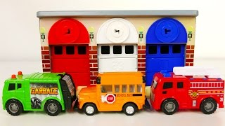getlinkyoutube.com-Fire Truck Garbage Truck and School Bus Vehicles with Car Garage Playset for Kids