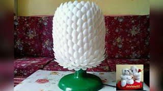getlinkyoutube.com-DIY# 14 IMPROVED TABLE LAMP MADE OF PLASTIC SPOON FROM MY DIY#5