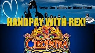 HANDPAY! CLEOPATRA SLOT MACHINE BONUS- WITH REX