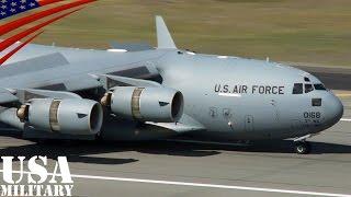 getlinkyoutube.com-着陸時に逆噴射全開しすぎてバックする大型輸送機C-17 - C-17 Globemaster III Reverse Thrust - Short Field Landing