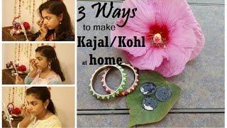 DIY Home made Kajal in 3 ways|Tips to make Kajal smudge free