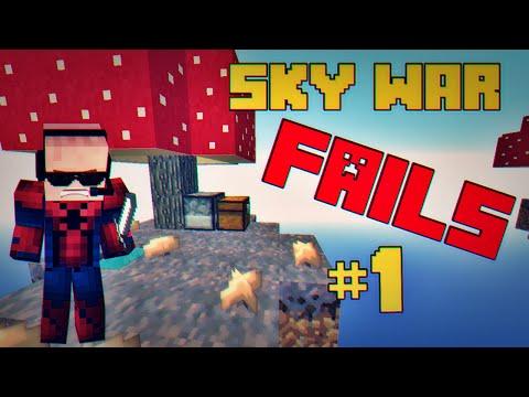 MINECRAFT~ SkyWar FAILS #1 - Cogumelos alucinógenos? HU3HU3
