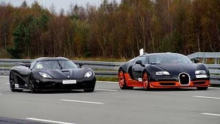getlinkyoutube.com-[4k] 50-350+ km/h RACE Bugatti Veyron Vitesse vs Koenigsegg Agera R Highspeed Oval