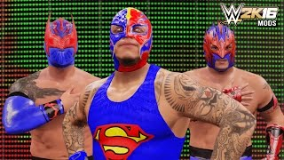 getlinkyoutube.com-WWE 2K16 Mods  - Rey Mysterio, Sin Cara & Kalisto SUPERMAN Attires Mod