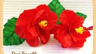 getlinkyoutube.com-DIY - How to Make Hibiscus Paper Flower for Room & Gift Box Decoration, Hair Bow