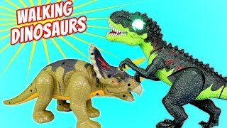 getlinkyoutube.com-Dinosaur Tyrannosaurus  Rex Triceratops Walking Light and Sound Toy - Dinosaurs Toys For Kids