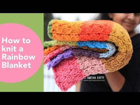 Rainbow Blanket, How to knit an afghan, DIY Throw, Free knitting patterns, Multi strand knits