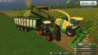 getlinkyoutube.com-Farming simulator 2013 Insilato Krone big x 1100 e bunker tri assiale rotante