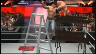 getlinkyoutube.com-WWE JOHN CENA AA EDGE THROUGH 4 TABLES FROM LADDER