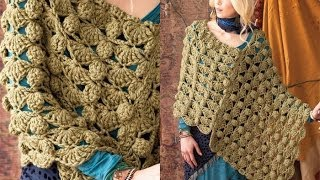 getlinkyoutube.com-#40 Bulky Poncho, Vogue Knitting Crochet 2012