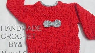 getlinkyoutube.com-كروشيه بلوفر لأي مقاس بغرزة الباسكيت # HandMade Crochet