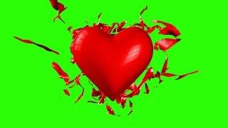 getlinkyoutube.com-Green Screen Heart Love Disintegration Destruction - Footage PixelBoom