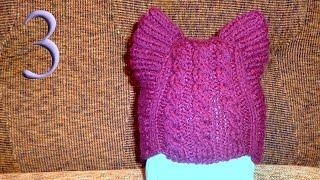 getlinkyoutube.com-Вяжем шапочку Кошачьи Ушки для ребенка спицами часть 3