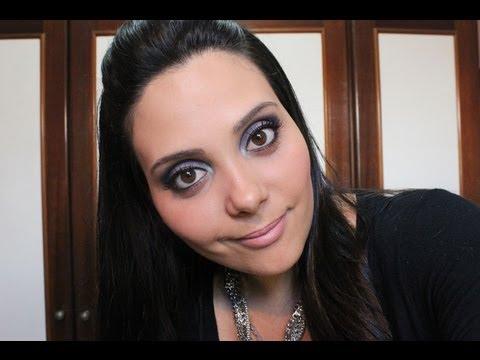 Tutorial de Maquiagem: Roxo e Azul com Produtos Baratinhos
